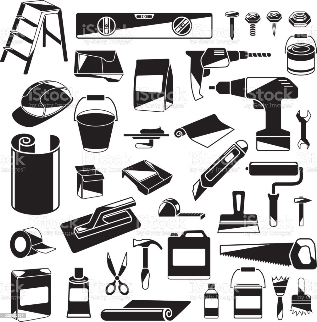 Black and White Design Elements of Home Repair vector art illustration