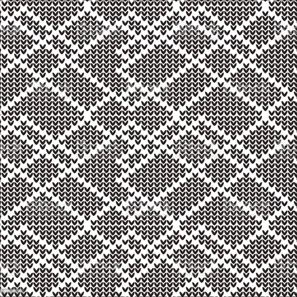 black and white diamond shape abstract knitting pattern background vector art illustration