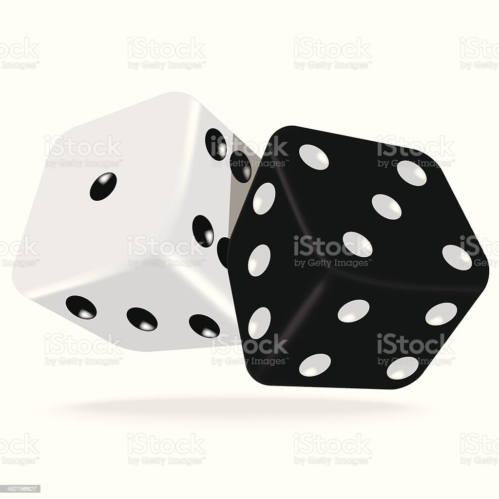 Black and white dice royalty-free stock vector art