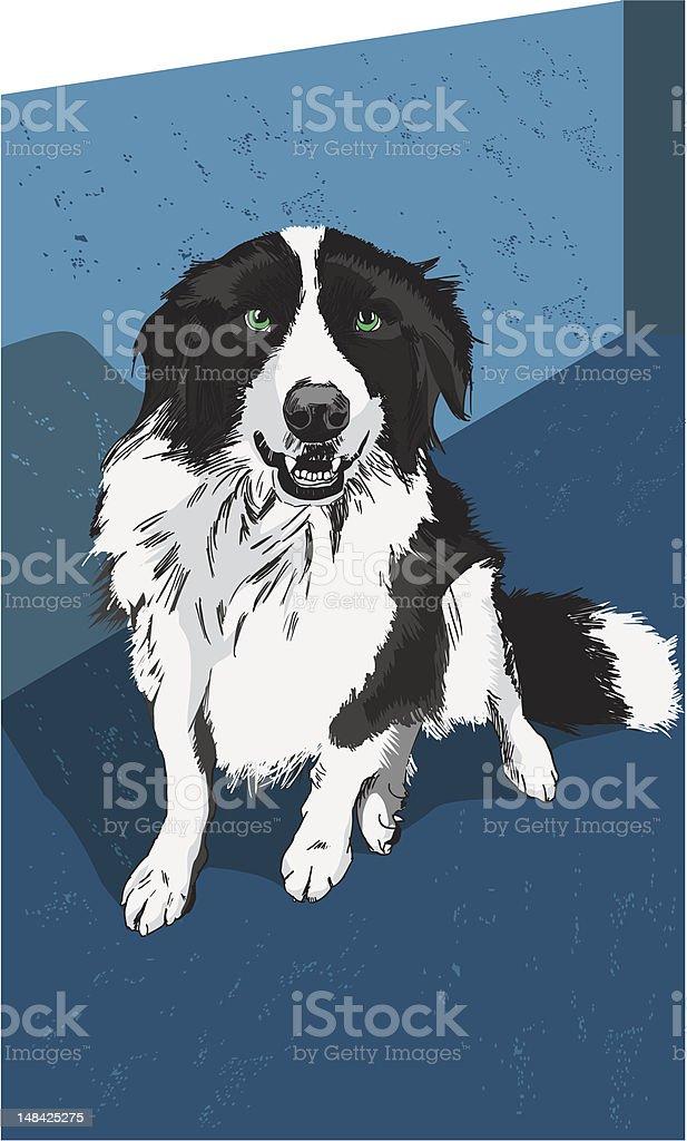 Black and white dog vector art illustration