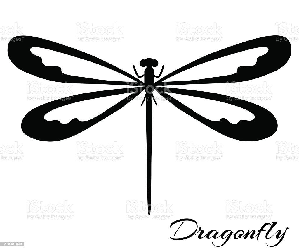 Black and white dragonfly vector art illustration