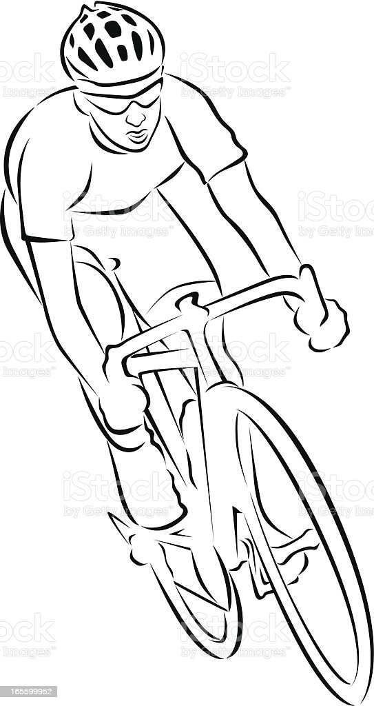 A black and white drawing of a man on a racing bike royalty-free stock vector art