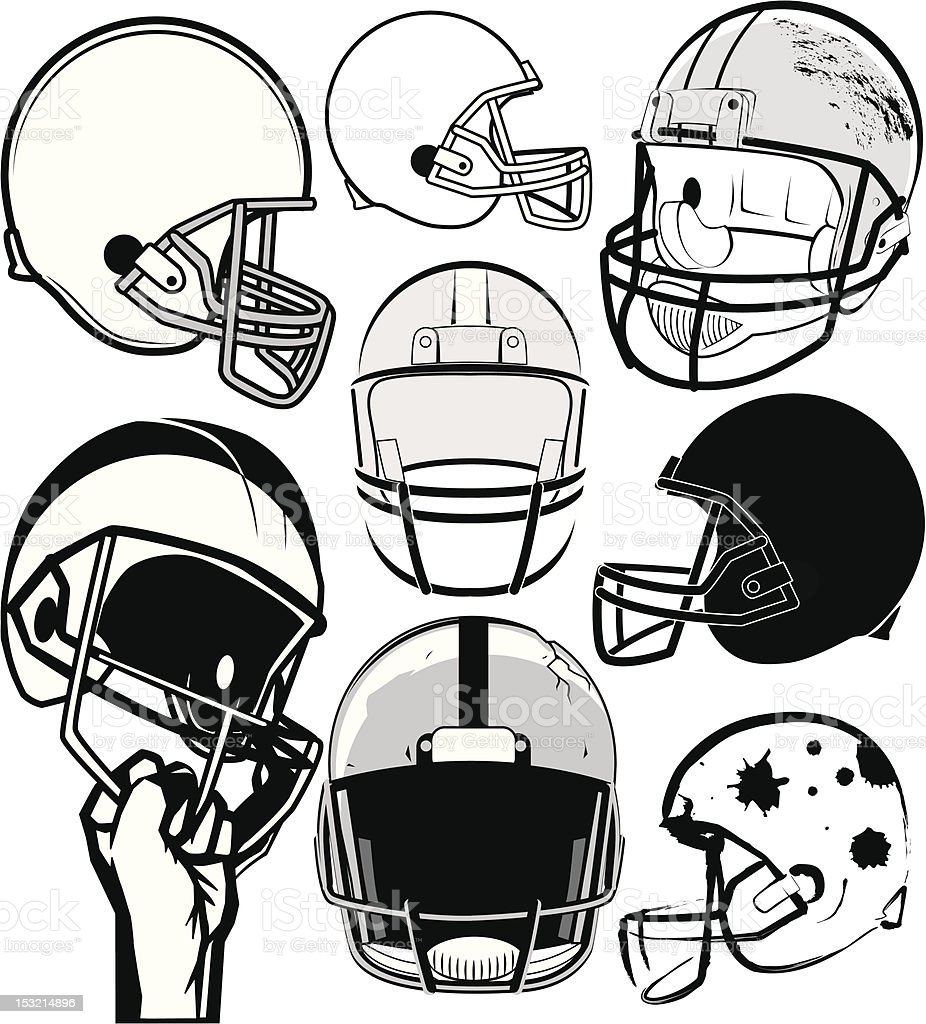 Black and white drawing of various football helmets royalty-free stock vector art