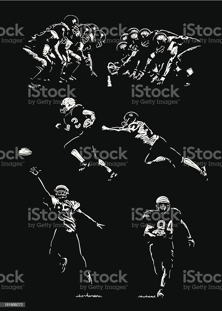 Black and white drawings of American football players vector art illustration