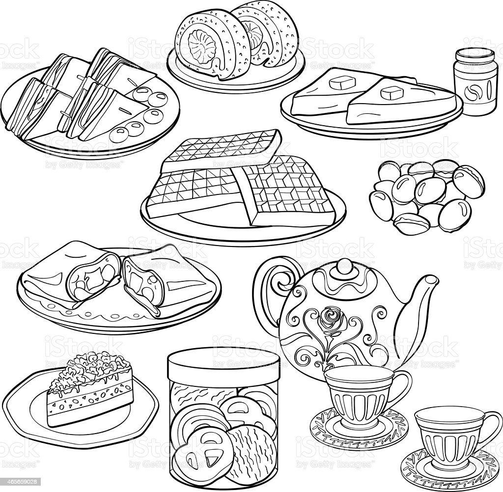 Black and white drawings of food and tea vector art illustration