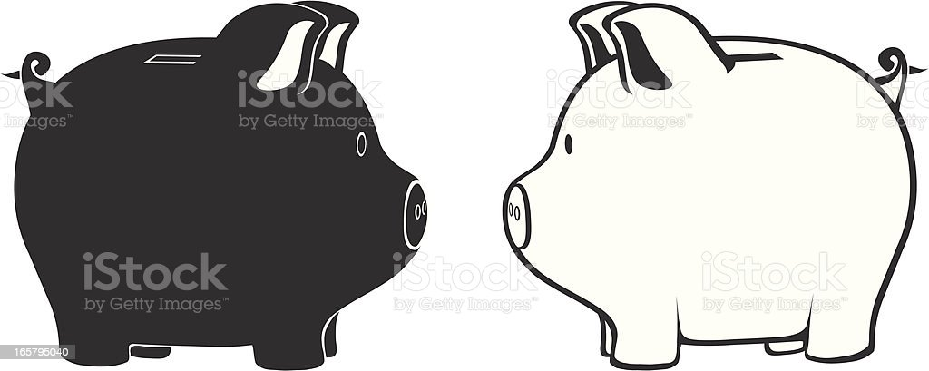 Black and white drawings of piggy banks  royalty-free stock vector art