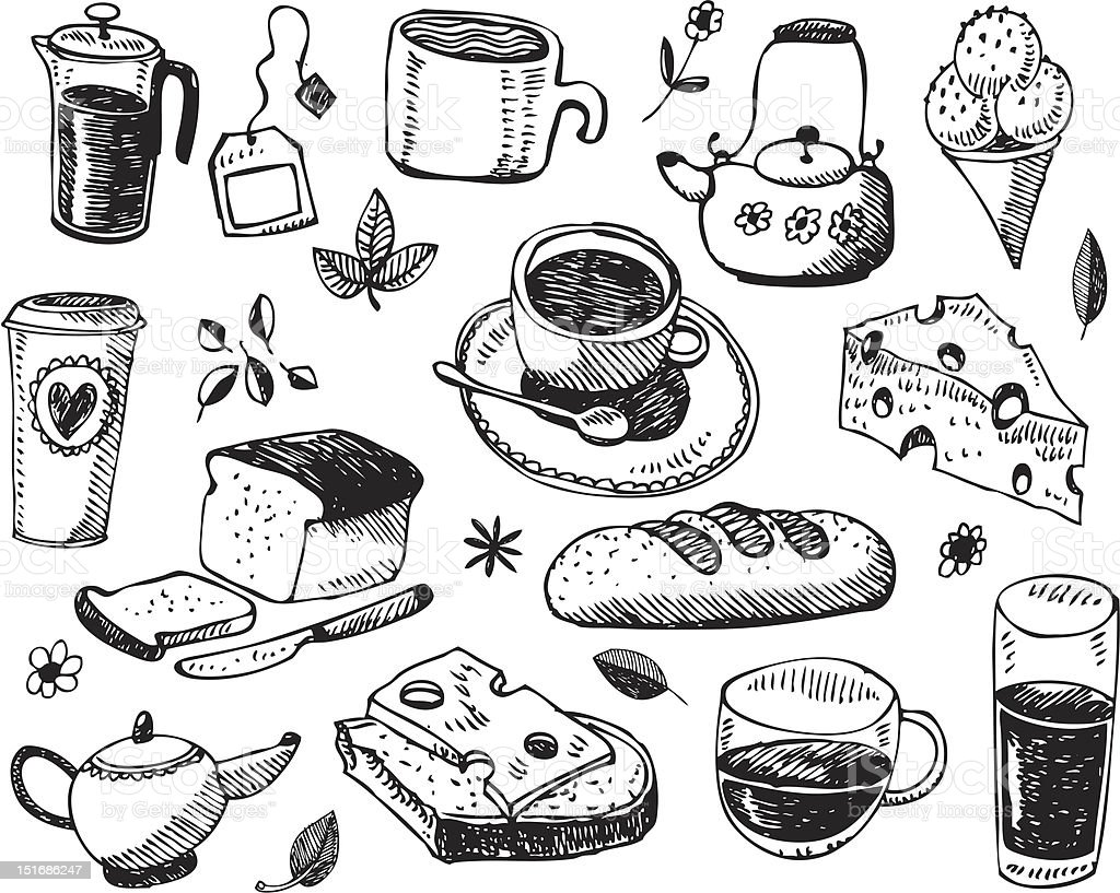 A black and white drawn vector set about breakfast royalty-free stock vector art