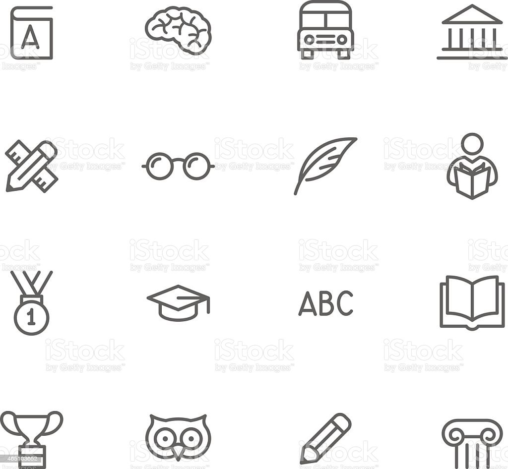 Black and white education icon set vector art illustration