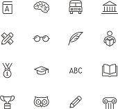 Black and white education icon set
