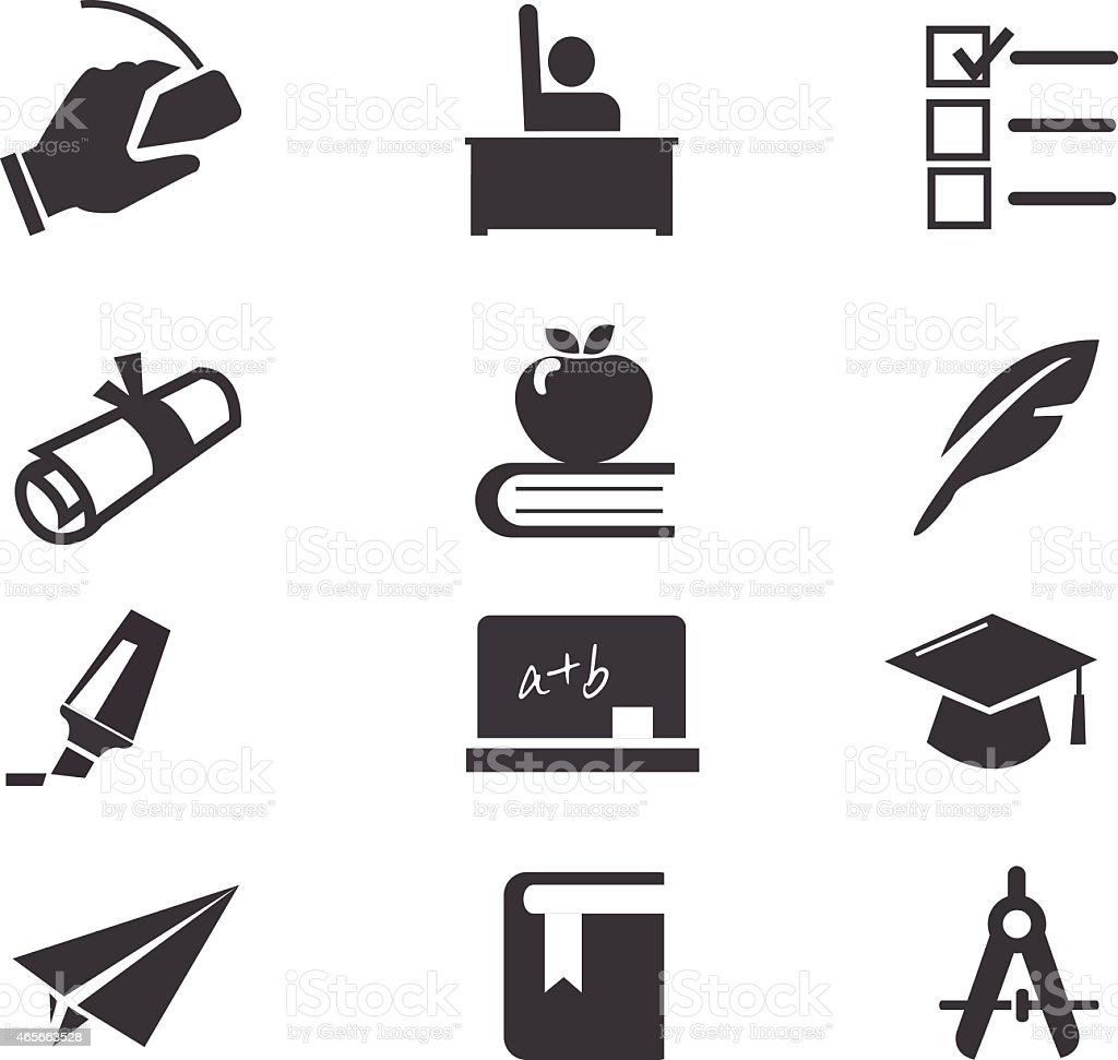 12 black and white education-themed icons vector art illustration