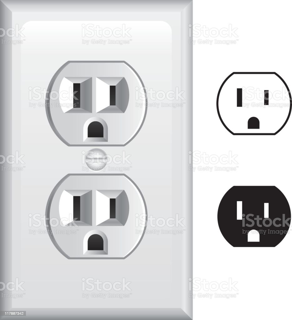 Black and white electric outlets vector art illustration