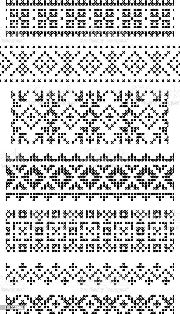Black and white embroidery borders royalty-free stock vector art