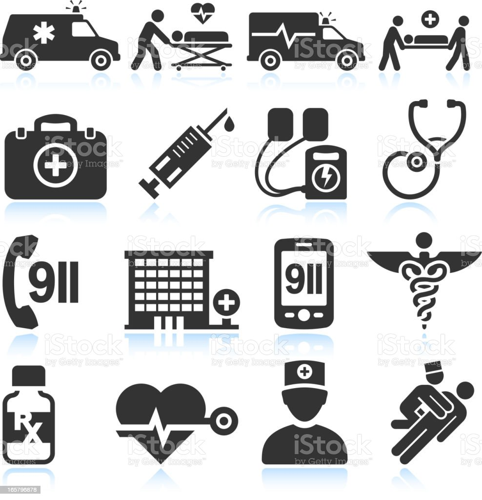 Emergency Services and Hospital black & white set vector art illustration