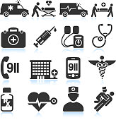 Black and white emergency service vector icons