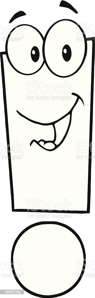 Black and White Exclamation Mark Cartoon Character royalty-free stock vector art