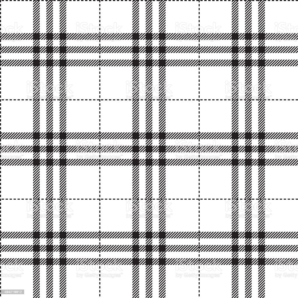 black and white fabric texture tartan pattern seamless vector art illustration