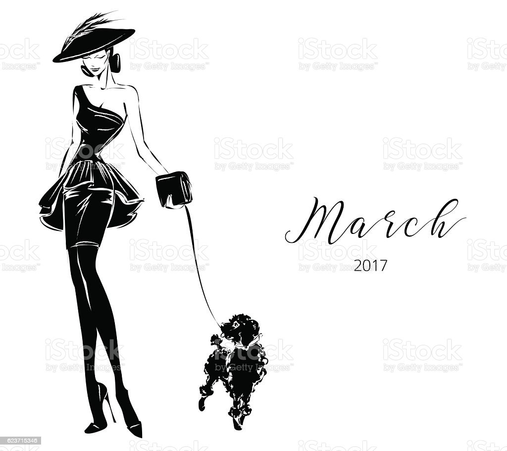 Black and white fashion woman model with boutique logo background vector art illustration