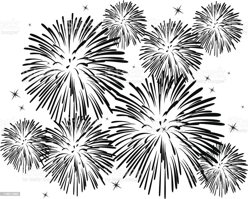 Black and white fireworks on white background royalty-free stock vector art