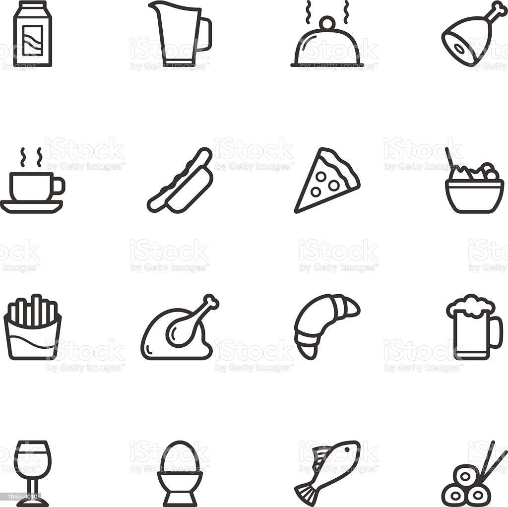 Black and white flat icon illustration of a variety of food vector art illustration
