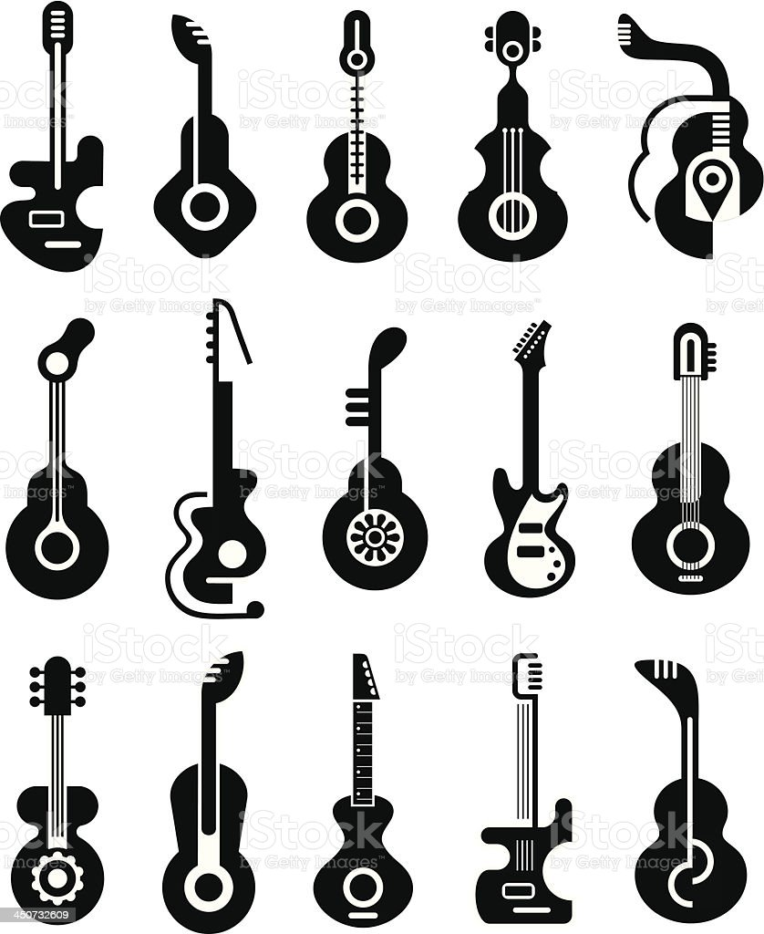 Black and white flat images of guitars vector art illustration