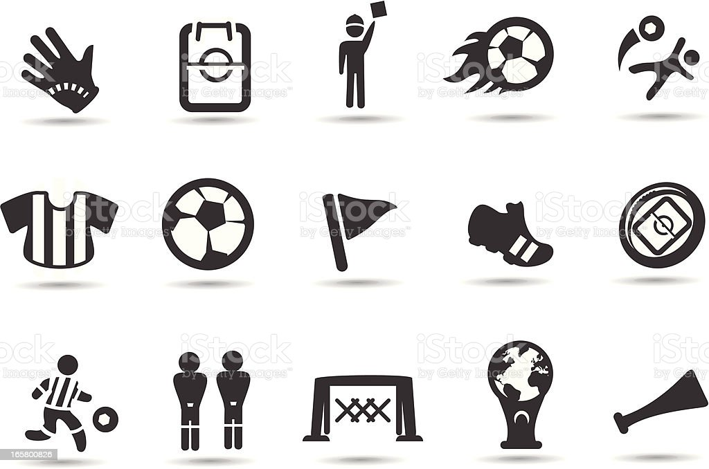 Black and white flat, simple soccer icons vector art illustration