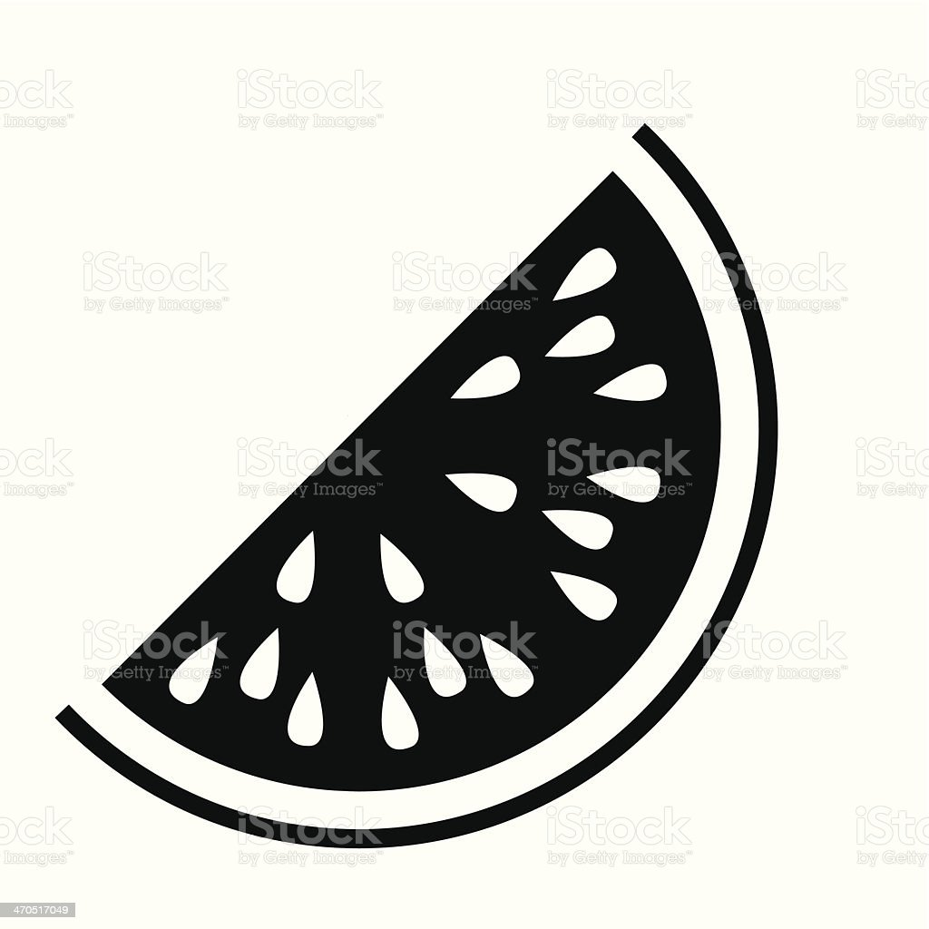 Black and white flat watermelon illustration on white vector art illustration