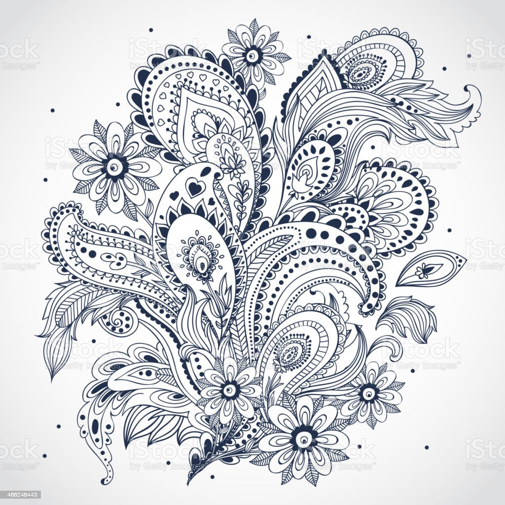 Black and white floral Indian ornament on white background vector art illustration