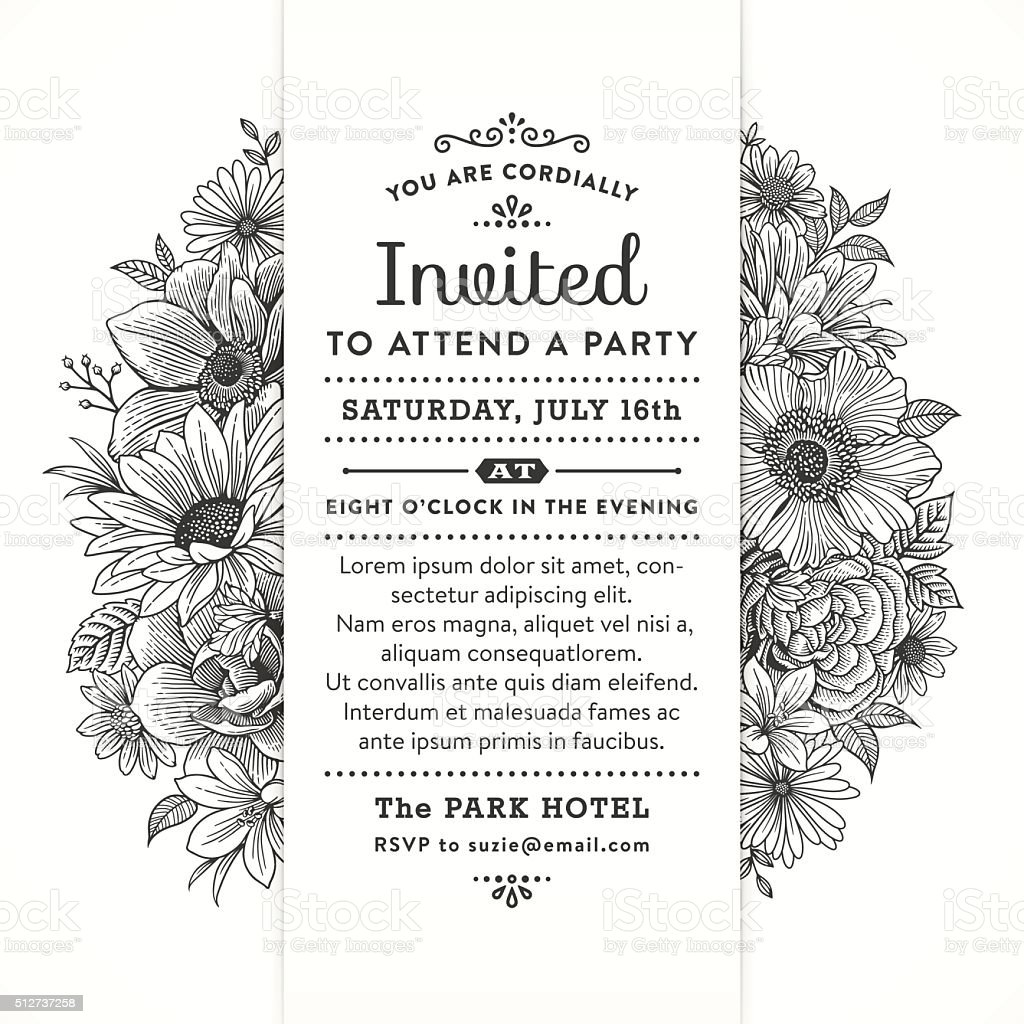 Black and White Floral Party Invitation vector art illustration