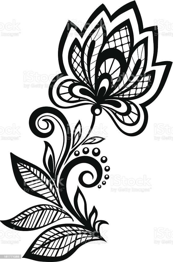 black and white floral pattern design element. royalty-free stock vector art