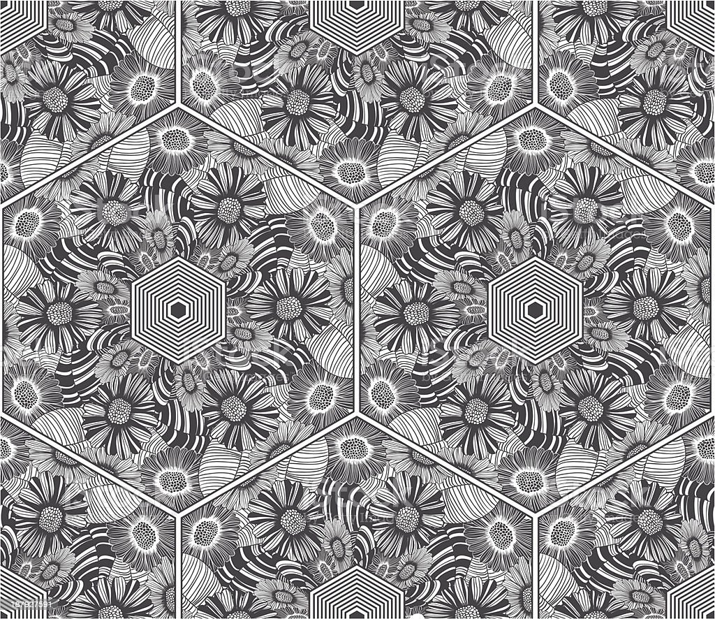 black and white floral seamless pattern royalty-free stock vector art