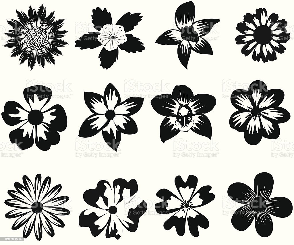 Black And White Flower Silhouette stock vector art