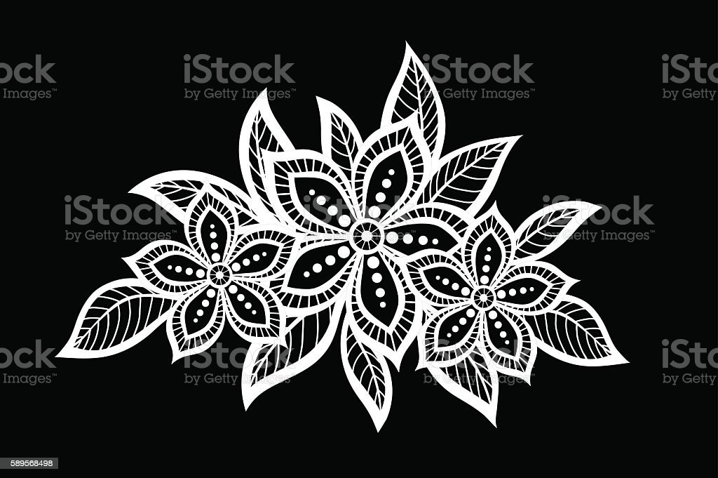 black and white flowers and leaves isolated. vector art illustration