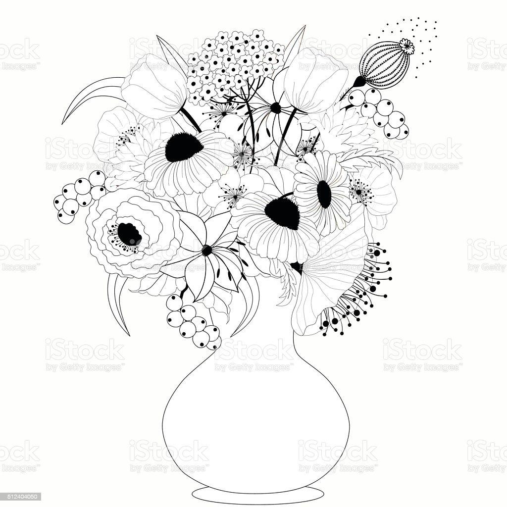Black and white flowers in vase vector art illustration