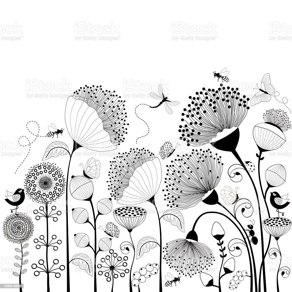 Black and white flowers vector art illustration