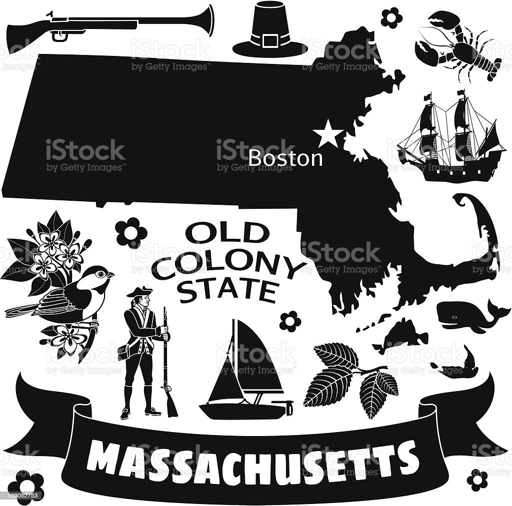 A black and white flyer with many Massachusetts icons vector art illustration
