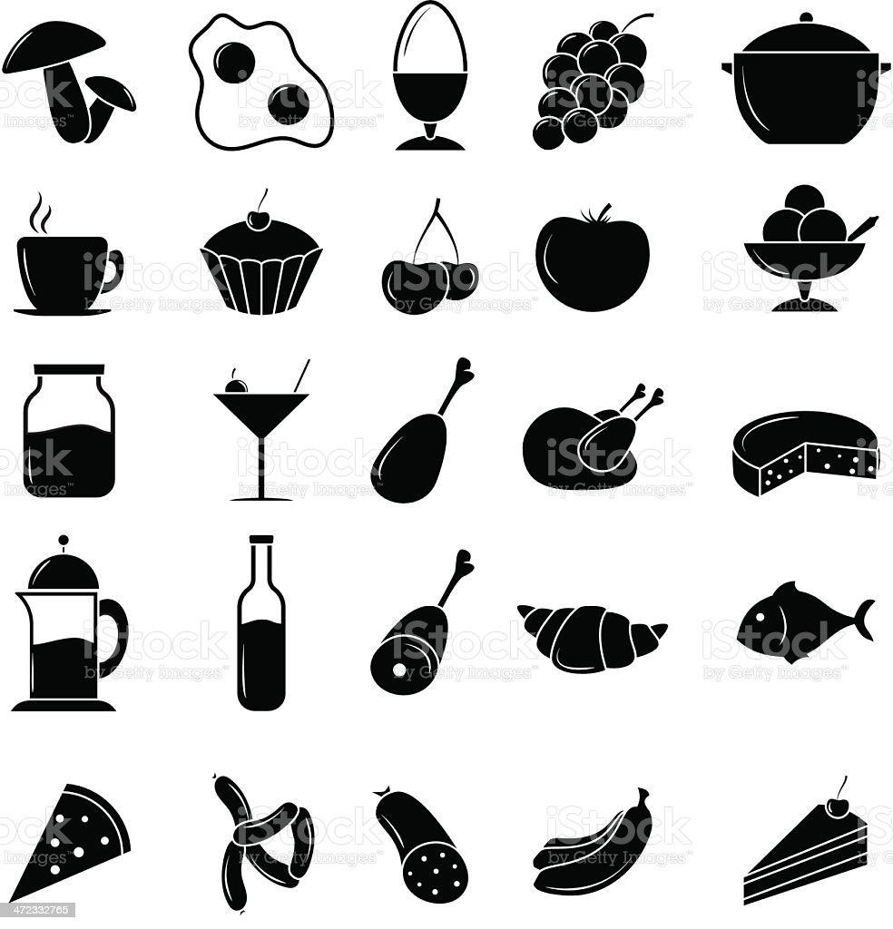 A black and white food icon set royalty-free stock vector art