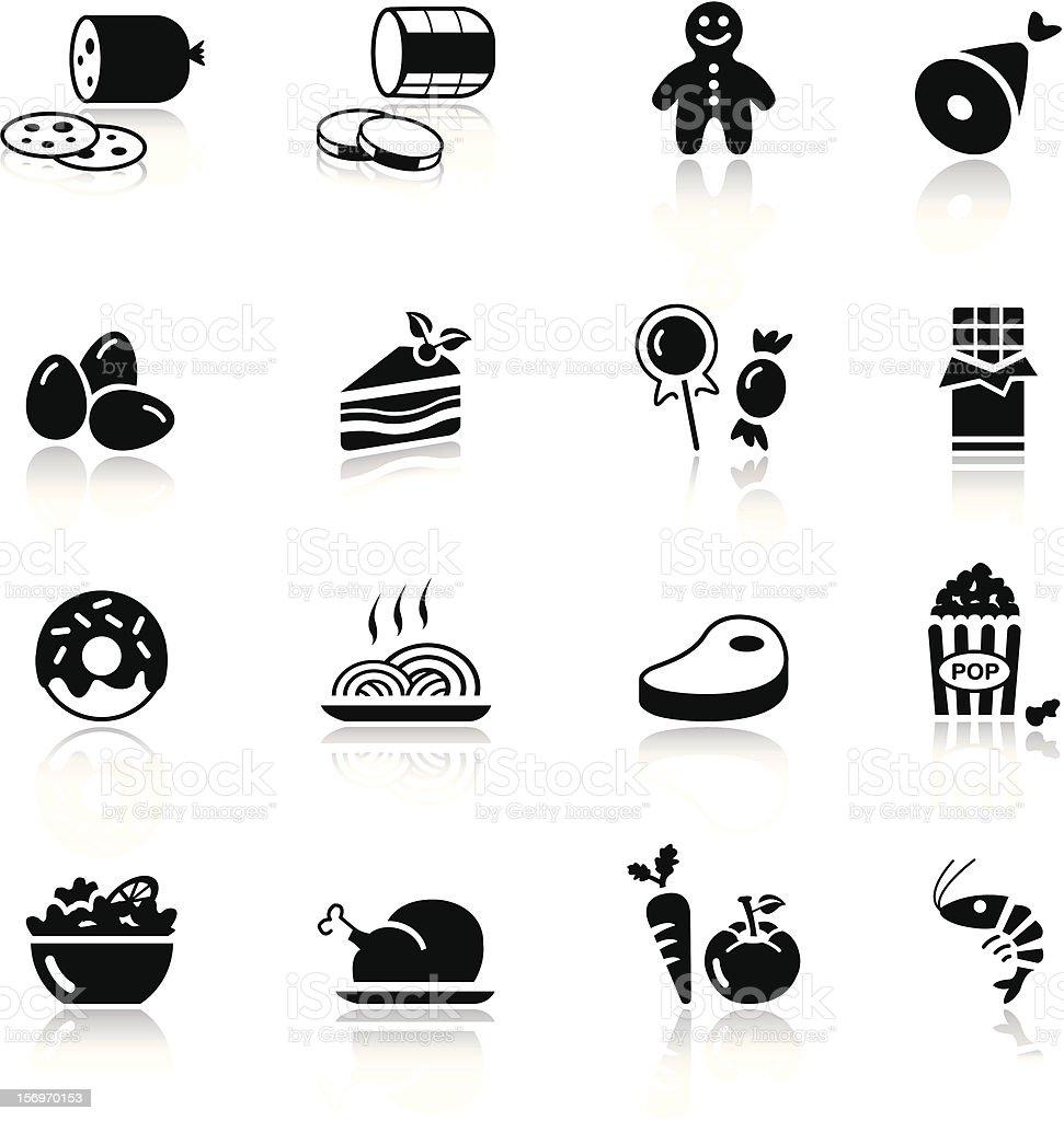 Black and white food icons on white background vector art illustration