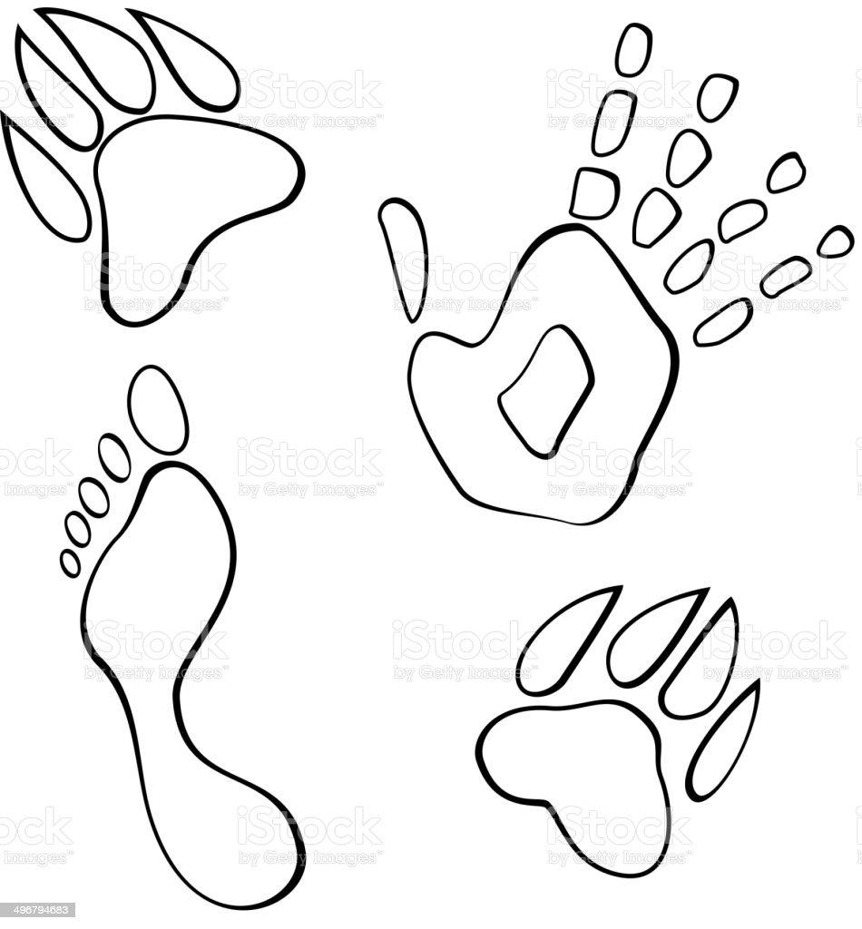 Black and white footmarks vector vector art illustration