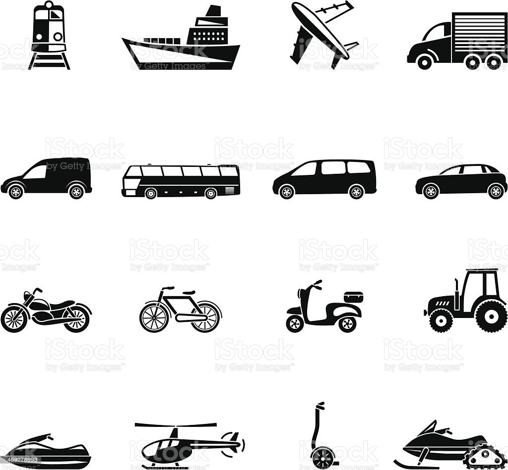 Black and white forms of transportation cartoons or emojis vector art illustration