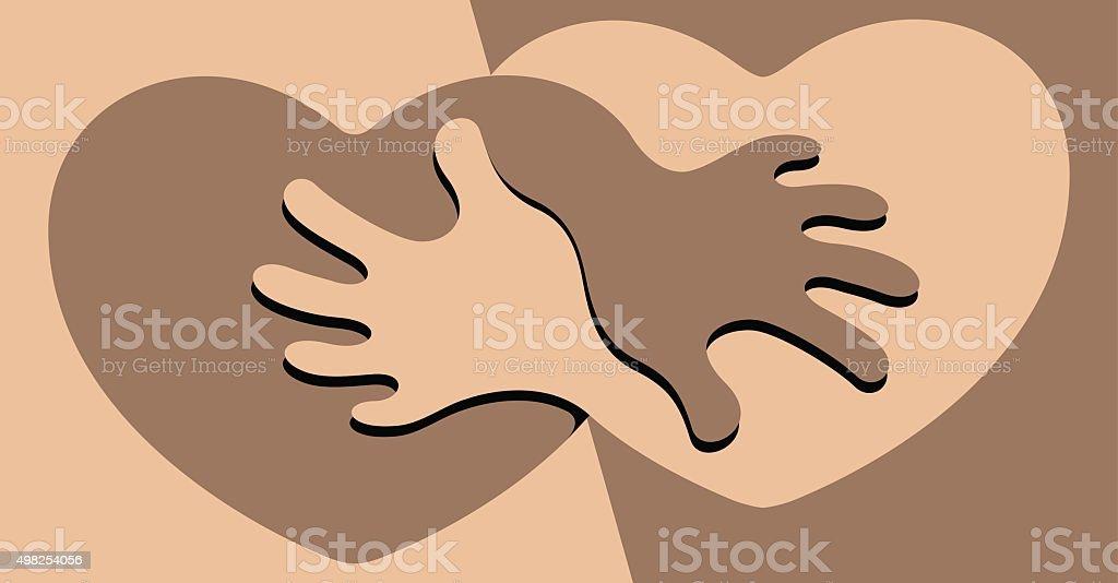 Black and White Friendship vector art illustration