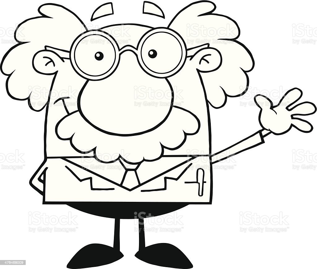 Black and White Funny Scientist Smiling royalty-free stock vector art