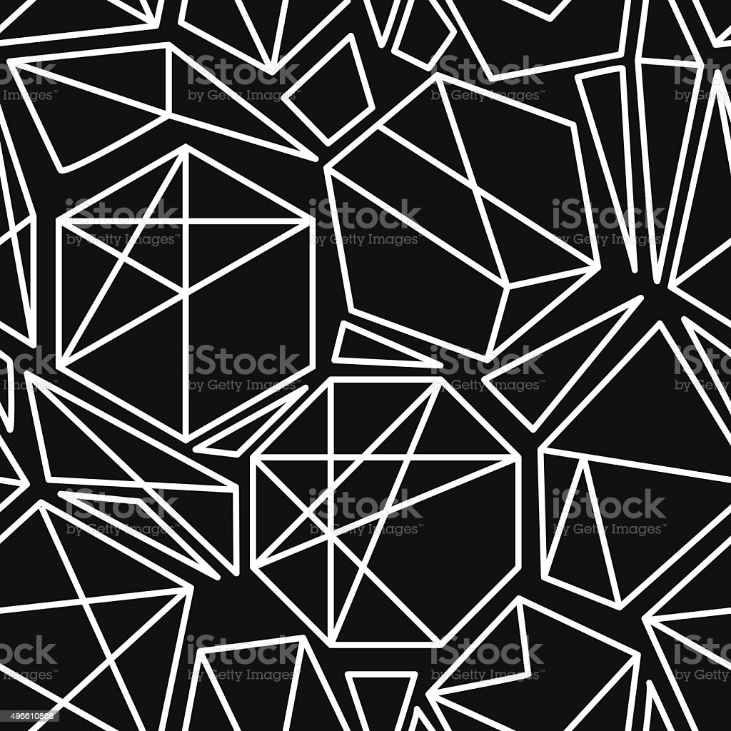Black and white geometric seamless pattern vector art illustration