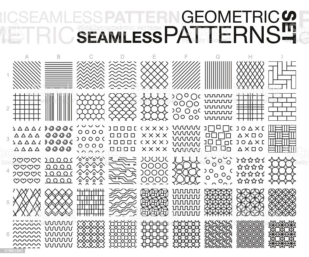 Black and white geometric seamless patterns set vector art illustration