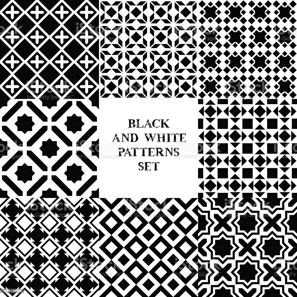 Black and white geometric tiles seamless patterns set, vector vector art illustration