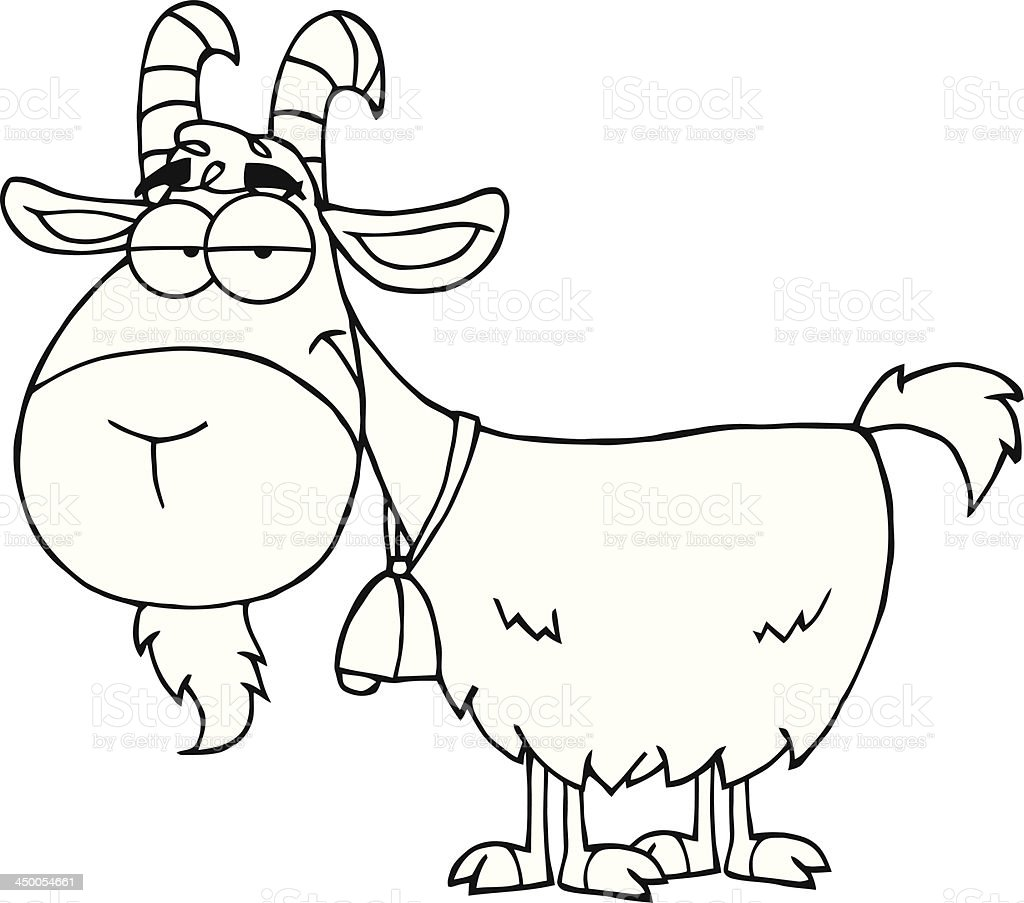 Cartoon Characters Black And White : Black and white goat cartoon character stock vector art