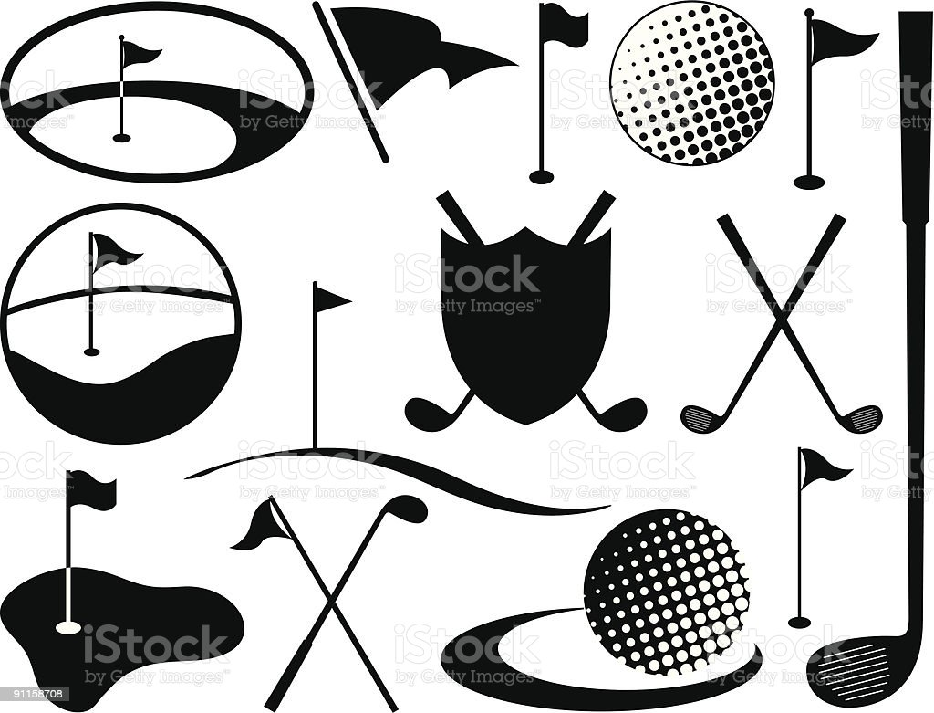 Black and White Golf Icons vector art illustration