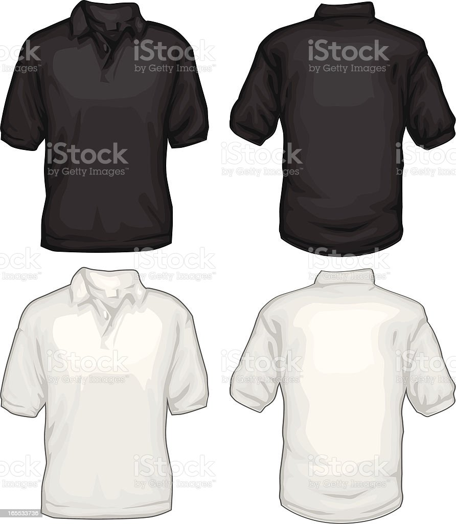 Black And White Golf Tee Shirts Front Back vector art illustration