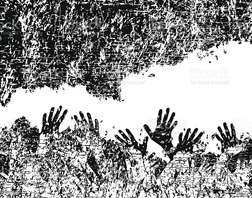 Black and white graffiti style painting of hands reaching up vector art illustration