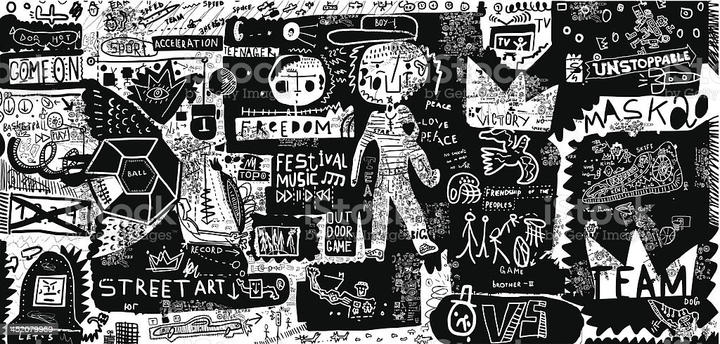 Black and white graffiti-style street art background vector art illustration