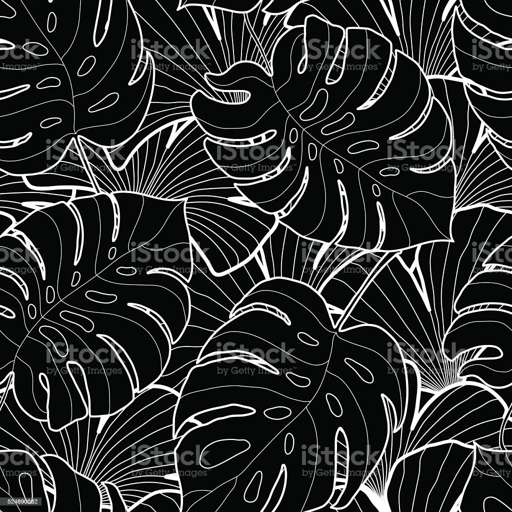 Black and white graphic tropical leaves seamless pattern vector art illustration
